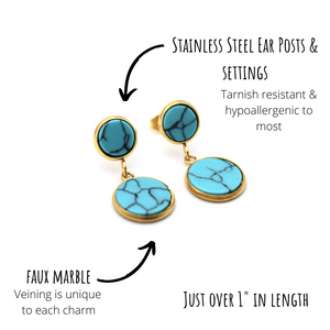 Turquoise Marble Gold Dangle Earrings