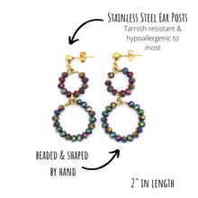 Load image into Gallery viewer, Rainbow Beaded Circle Earrings
