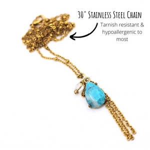 Turquoise & Gold Teardrop Necklace