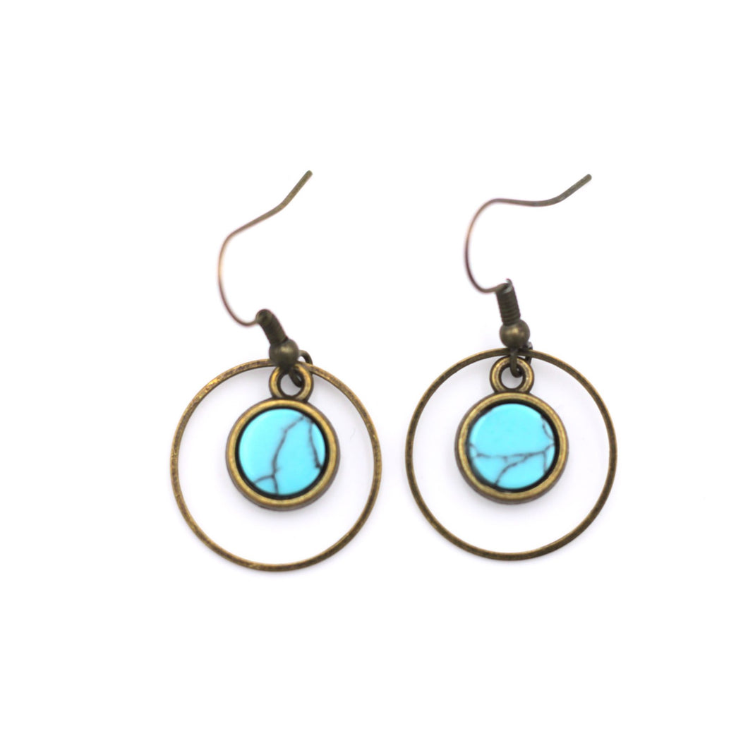 Turquoise Cutout Circle Dangle Earrings