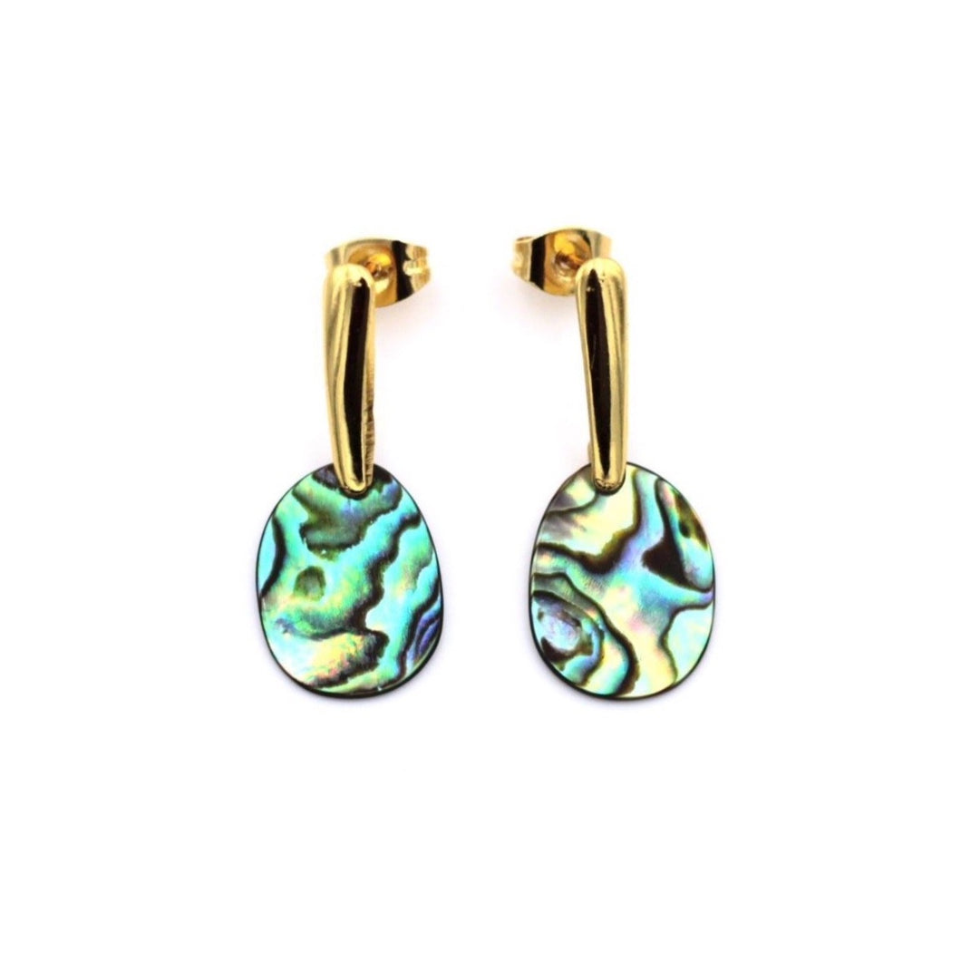 Gold Abalone Oval Dangle Earrings