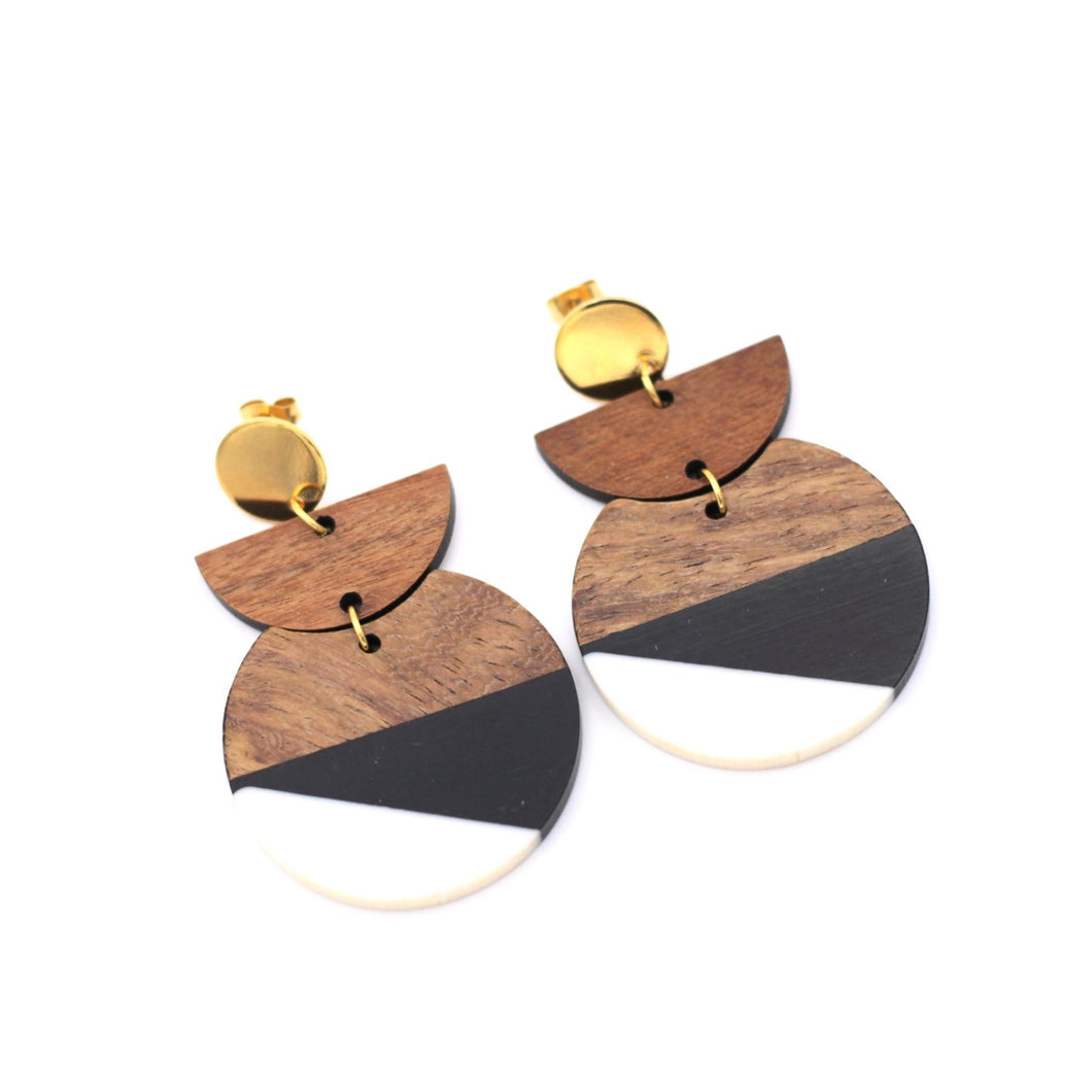 Black & White Resin & Wood Gold Dangle Earrings