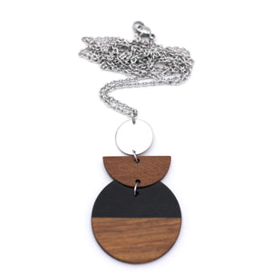 Black Resin & Wood Geometric Silver Necklace