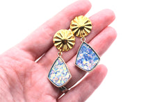 Load image into Gallery viewer, Blue Iridescent Glitter Dangle Earrings