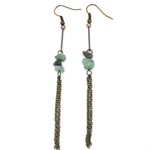 Bronze Chain Green Aventurine Dangle Earrings