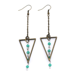 Bronze Triangle Turquoise Beaded Dangle Earrings