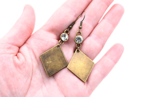 Bronze Diamond Shape Rhinestone Earrings