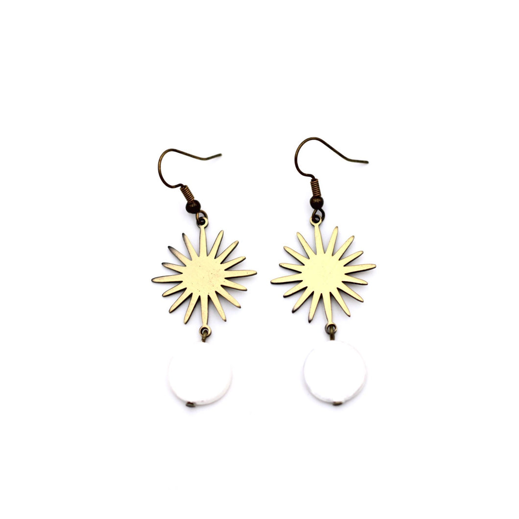 Bronze Sun Burst Pearl Dangle Earrings