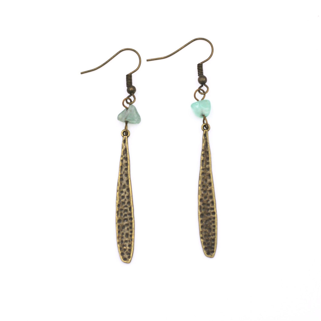 Bronze Teardrop Aventurine Dangle Earrings
