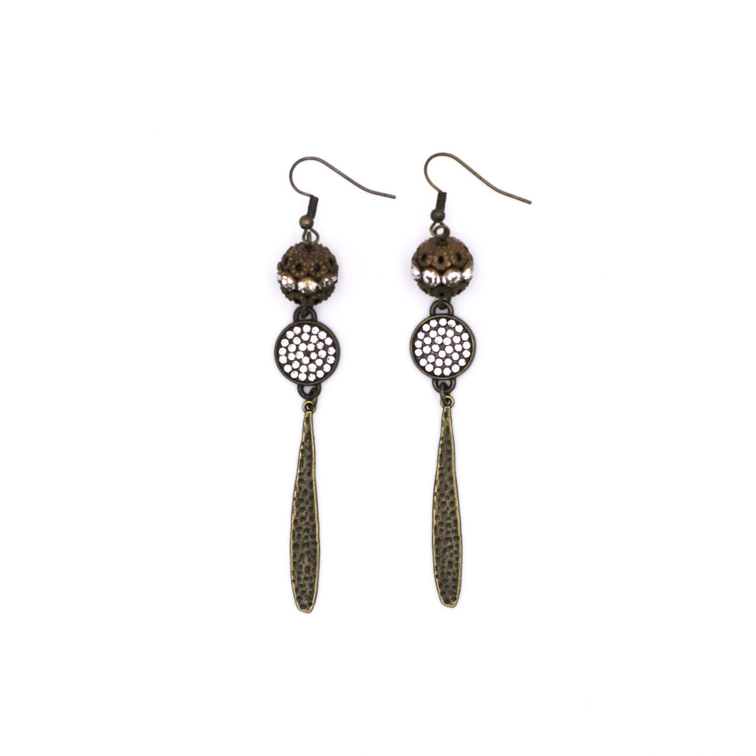 Bronze Rhinestone Filigree Bead Earrings