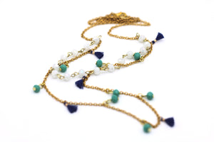 Blue Tassel Double Layer Necklace