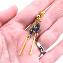 Load image into Gallery viewer, Dark Blue Triangle Bar Dangle Earrings