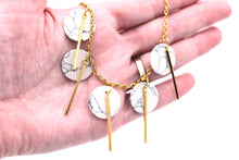 Load image into Gallery viewer, Faux Marble Gold Bar Necklace