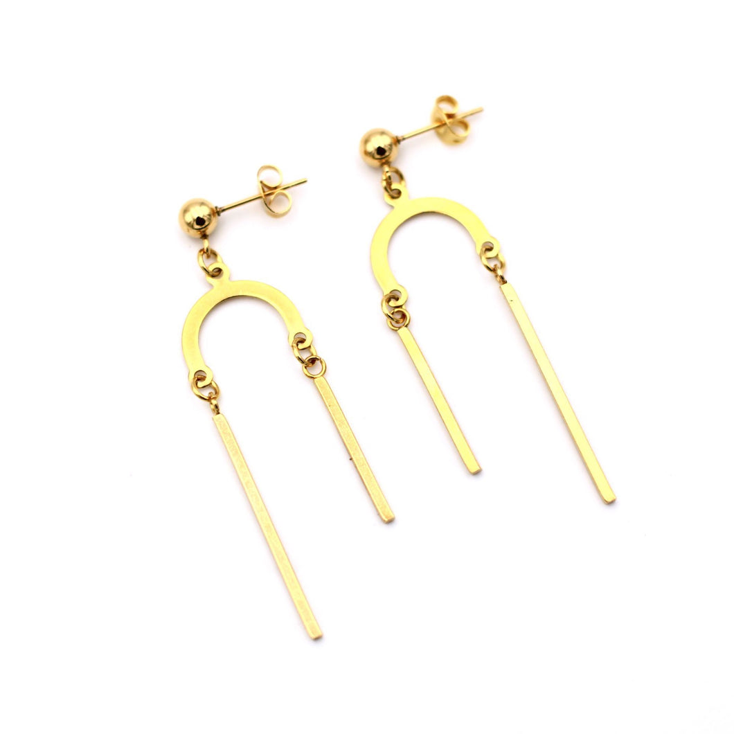 Gold Asymmetrical Dangle Earrings