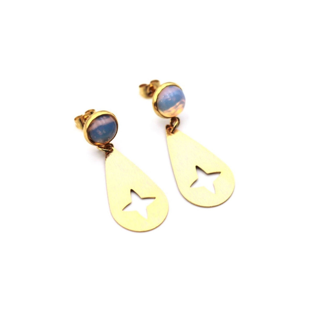 Gold Opalite Teardrop Earrings