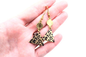 Leopard Triangle Dangle Earrings