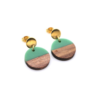 Green Resin & Wood Circle Gold Dangle Earrings