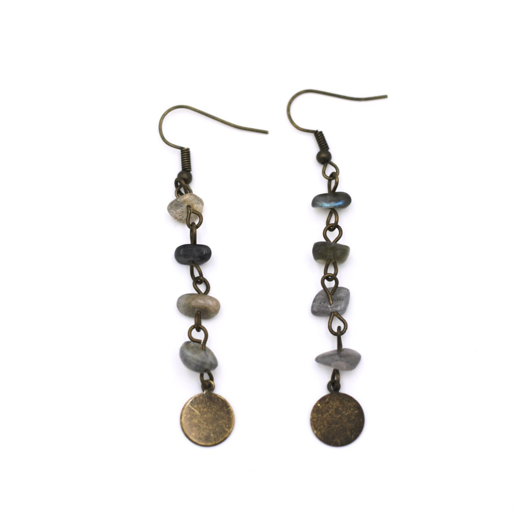 Labradorite Chip Bead Dangle Earrings