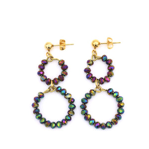 Rainbow Beaded Circle Earrings