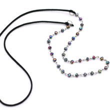 Load image into Gallery viewer, Black Iridescent Beaded Faux Suede Necklace