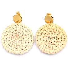 Load image into Gallery viewer, Circle Rattan Gold Dangle Earrings