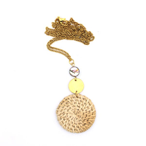 Rattan Gold Circle Necklace