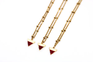 Red Triangle Charm Necklace