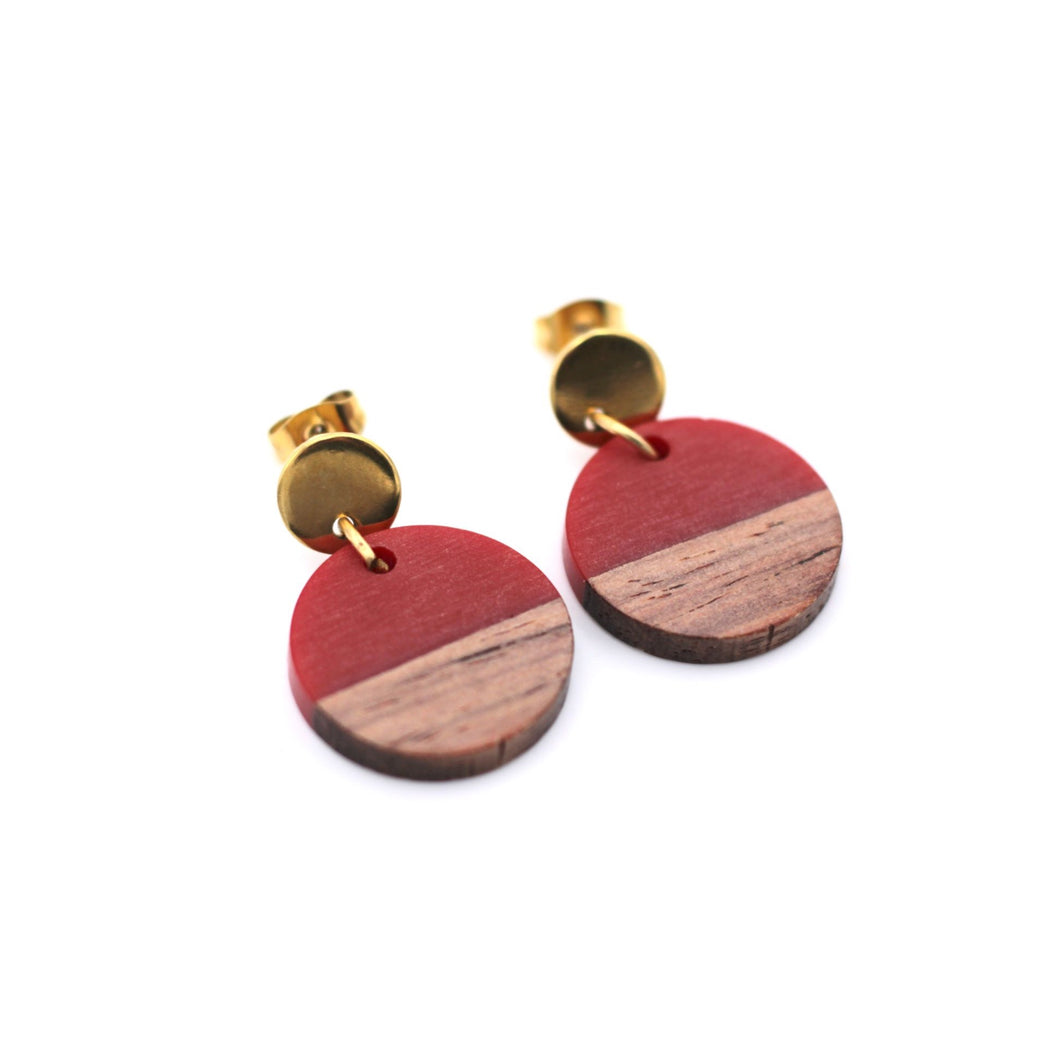 Red Resin & Wood Circle Gold Dangle Earrings