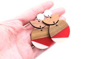 Red & White Resin & Wood Crescent Silver Dangle Earrings