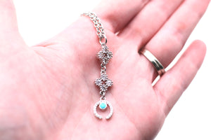 Silver Crescent Cubic Zirconia Necklace