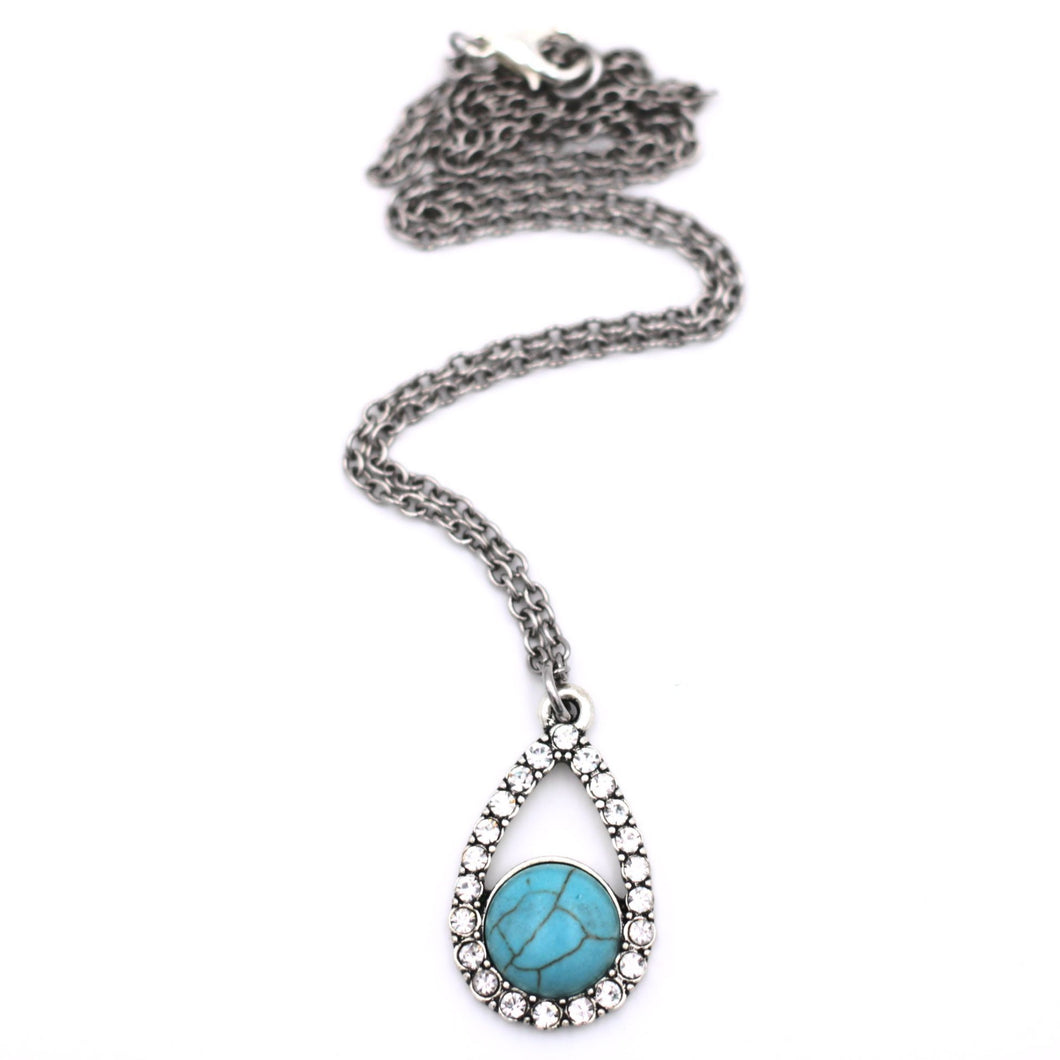 Faux Turquoise Rhinestone Teardrop Necklace