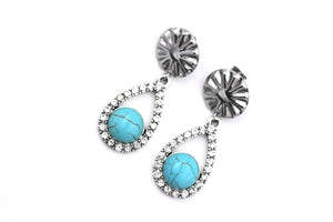 Faux Turquoise Silver Rhinestone Teardrop Dangle Earrings