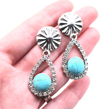 Load image into Gallery viewer, Faux Turquoise Silver Rhinestone Teardrop Dangle Earrings