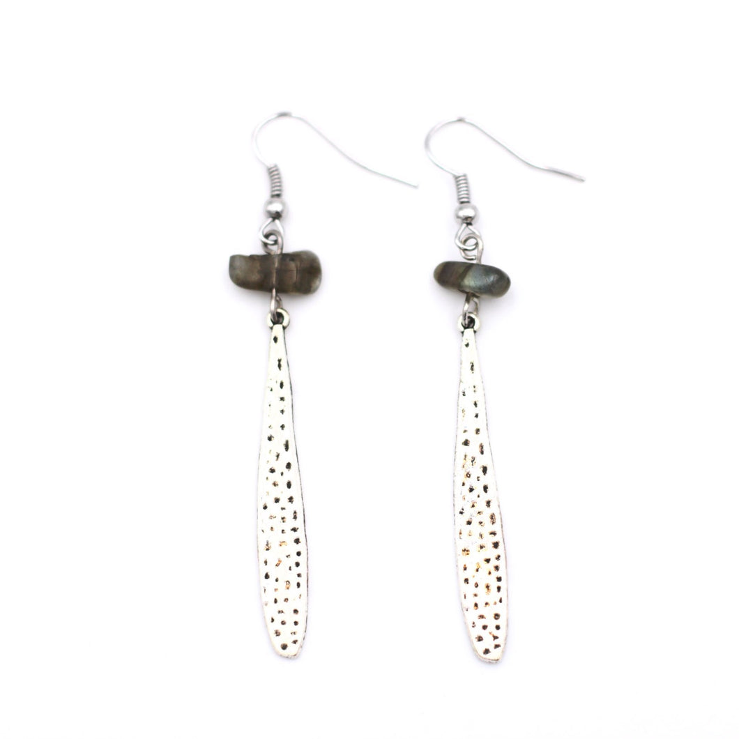 Silver Teardrop Labradorite Dangle Earrings