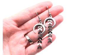 Silver Modern Boho Dangle Earrings