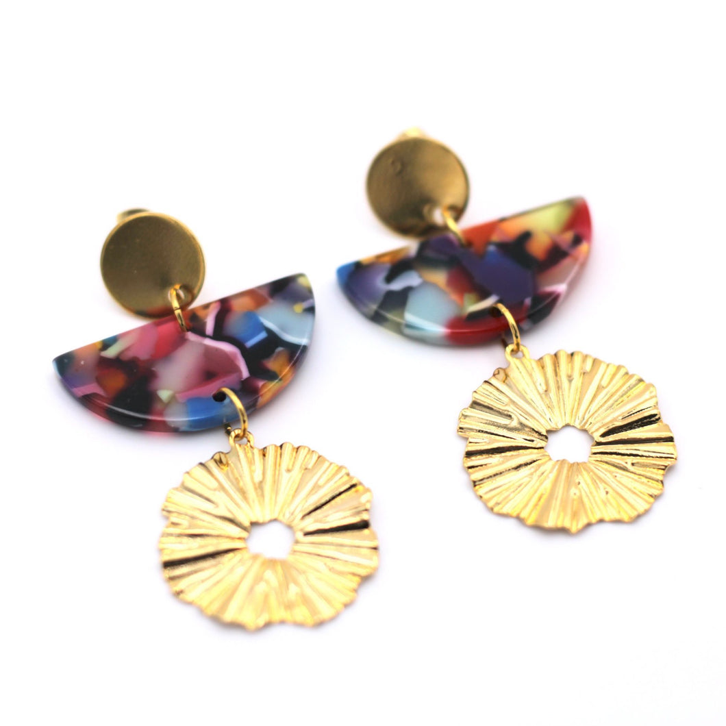 Rainbow Acetate Gold Wavy Circle Dangle Earrings