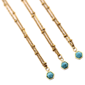 Tiny Turquoise Spike Necklace