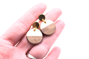 White Resin & Wood Circle Gold Dangle Earrings