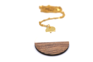 White Resin & Wood Circle Gold Necklace