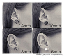 Load image into Gallery viewer, Gray with Gold Fleck Stud Earrings