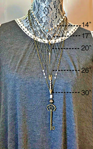 Clear Stone Spike Beaded Chain Necklace