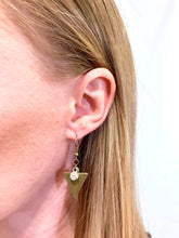 Load image into Gallery viewer, Bronze Triangle & Rhinestone Dangle Earrings