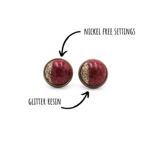 Red & Gold Glitter Stud Earrings