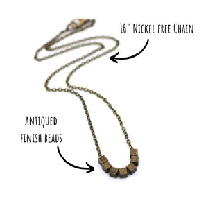Bronze Square Bead Necklace