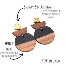 Load image into Gallery viewer, Black Resin & Wood Crescent Gold Dangle Earrings
