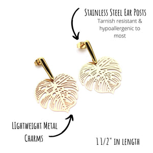 Gold Monstera Filigree Earrings