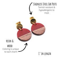 Load image into Gallery viewer, Red Resin & Wood Circle Gold Dangle Earrings