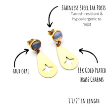 Load image into Gallery viewer, Gold Opalite Teardrop Earrings