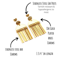 Load image into Gallery viewer, Gold Boho Fringe Dangle Earrings