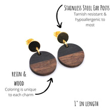 Load image into Gallery viewer, Black Resin & Wood Circle Gold Dangle Earrings